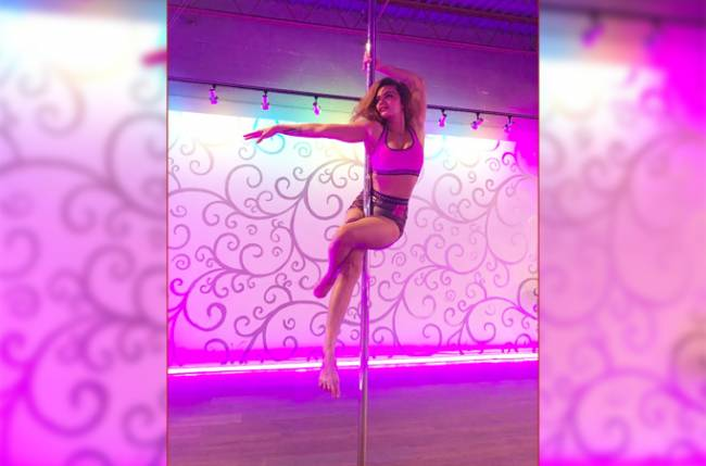 Aashka Goradia trains for Pole dancing!
